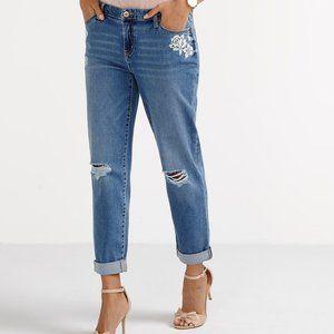 R Jeans distressed boyfriend jeans